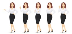 Elegant business woman in different poses isolated vector illustrtion