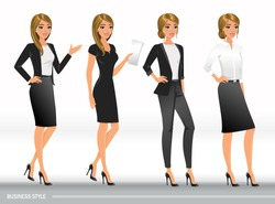 Elegant business women in formal clothes. Base wardrobe, feminine corporate dress code. Women in office clothes.Vector illustration with isolated characters.