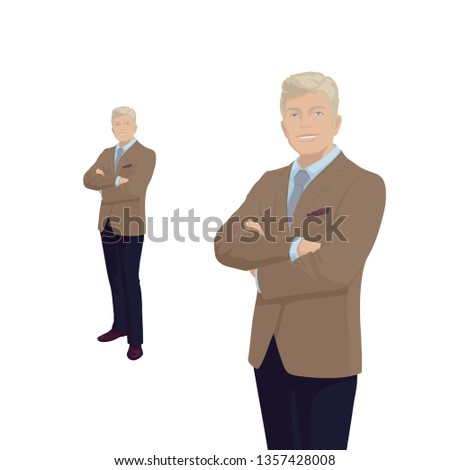 Elegant businessman in costume. Boss, businessman. Older man. Smile. People character. Portrait of Full length. Front view man. Standing Person. Isolated vector on white. Vector.