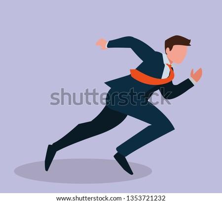 elegant businessman running avatar character #1353721232