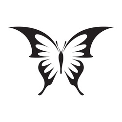 Elegant butterfly logo vector isolated on white. Butterfly with stretched wings. Butterfly tattoo sign or symbol.