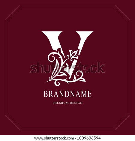 Elegant Capital letter V. Graceful floral style. Calligraphic beautiful logo. Vintage drawn emblem for book design, brand name, business card, Restaurant, Boutique, Hotel, Cafe. Vector illustration