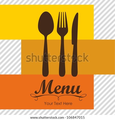 Elegant card for restaurant menu, with spoon, knife and fork vector