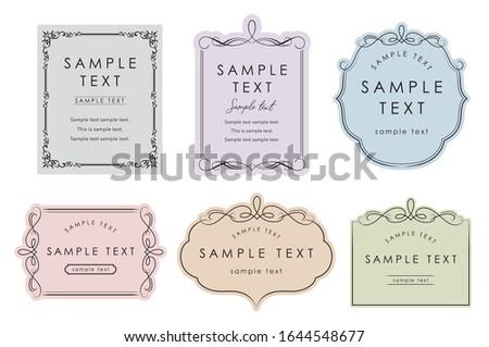 Elegant card frame template set pastel color