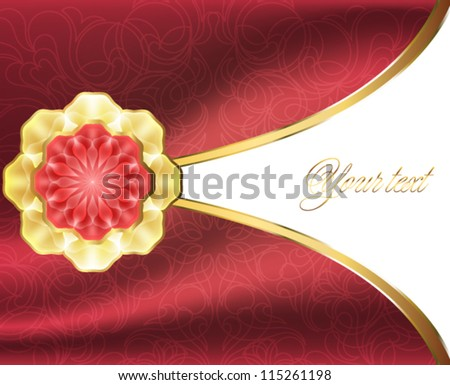 Elegant card with a gold brooch and fabric background