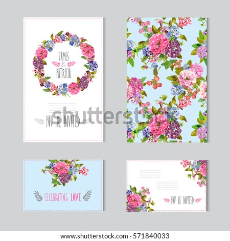 Elegant cards with decorative flowers, design elements. Can be used for wedding, baby shower, mothers day, valentines day, birthday cards, invitations, greetings. Vintage decorative flowers.
