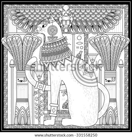 elegant cat coloring page