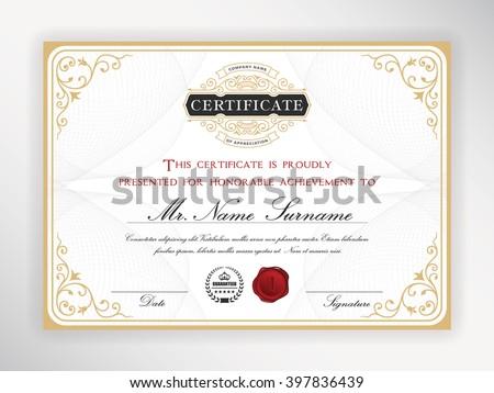Elegant certificate template design with emblem, vintage border. A4 size + Bleed