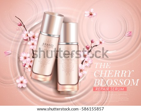 Elegant cherry blossom cosmetic ads, top view of two exquisite bottles with sakura branches isolated on ripples background in 3d illustration