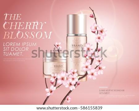 elegant cherry blossom cosmetic