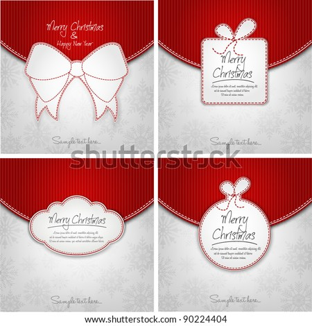 Elegant Christmas Background Set For Xmas Card