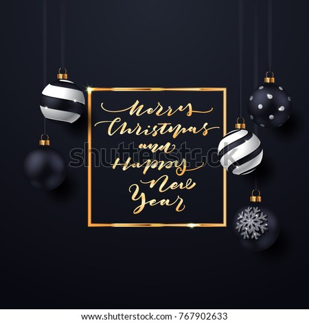 Elegant Christmas Background with balls and lettering