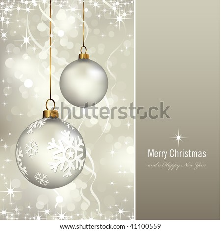 elegant christmas background with baubles (background behind the panel is complete) - stock vector