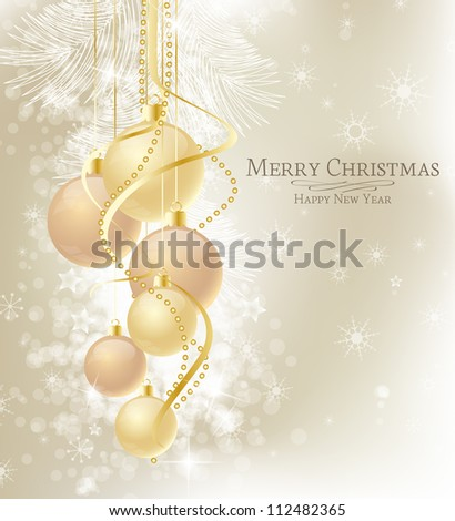 Elegant Christmas background with brown and gold  baubles - stock vector