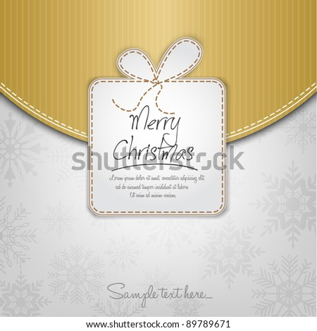 Elegant Christmas Background With Gift Box On White Background - stock vector