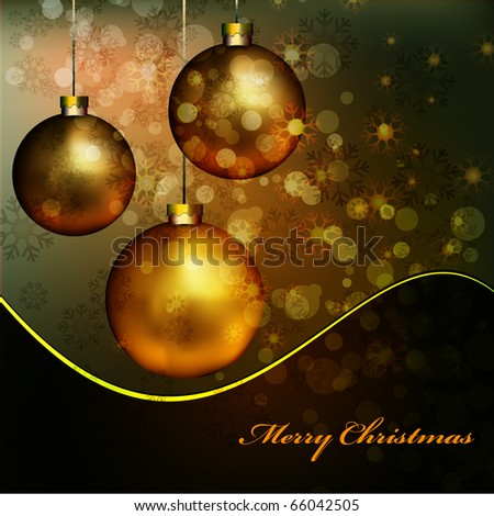 Elegant Christmas Background with Golden Balls | Vector Card
