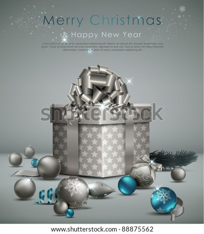 Elegant Christmas Background with ornaments and gift box. Vector Illustration.