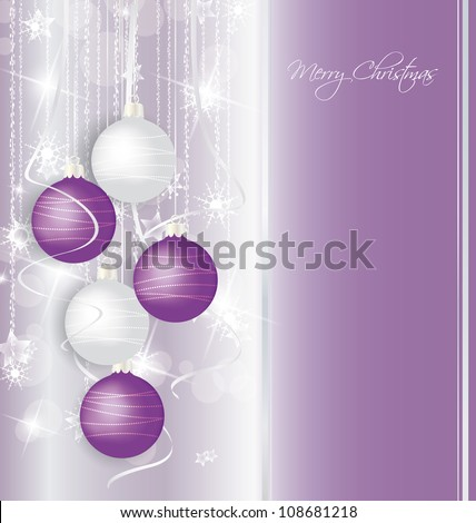 elegant Christmas background with purple and white  balls - stock vector