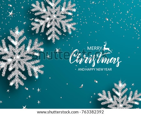 Elegant Christmas Background with Shining Silver Snowflakes. Vector illustration.