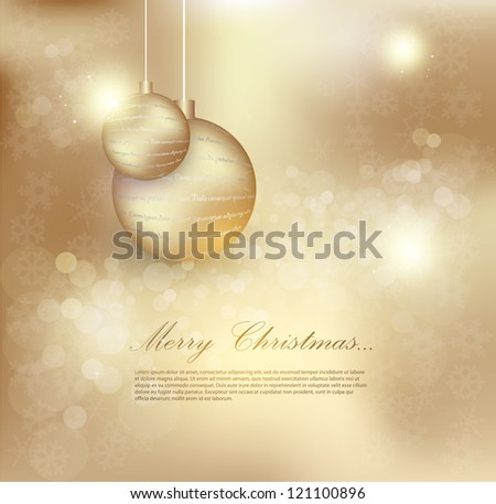 Elegant Christmas background with snowflakes gold light - stock vector