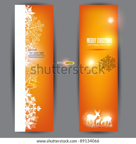 Elegant Christmas banners with deers. Vector Illustration with place for text.