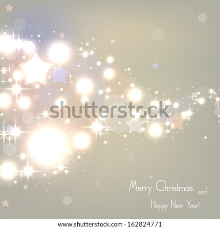 Elegant Christmas beige background with sparkles and confetti . Vector  illustration