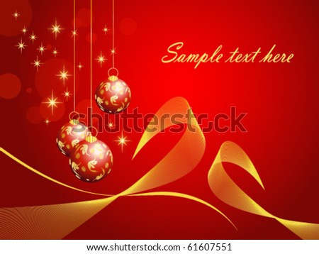 Elegant Christmas card with baubles, bows and stars (vector, eps10)