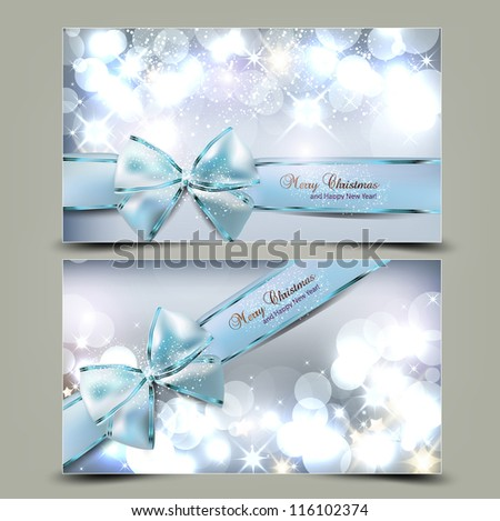 Elegant Christmas greeting cards with blue bows and place for text Vector Illustration