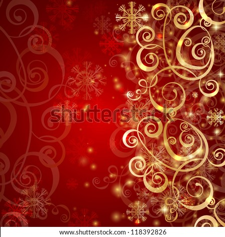 Elegant christmas red background with gold snowflakes and lightsElegant Red And Gold Background