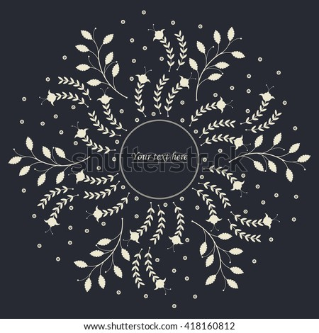 Elegant circle frame with cute flowers and leaves can be used for greeting card, baby shower  invitation, cover and more designs.