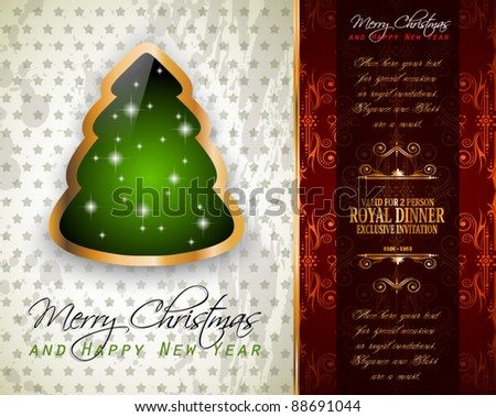 Elegant Classic Christmas Greetings background with lovely tree ideal for flyers, invitations, cards or posters. - stock vector