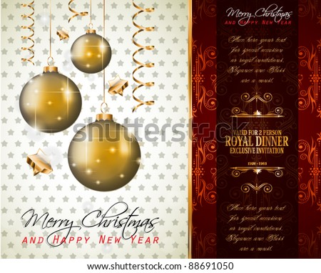 Elegant Classic Christmas Greetings background with lovely tree ideal for flyers, invitations, cards or posters.