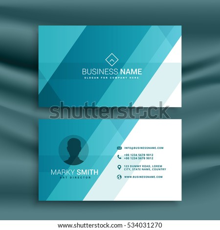 elegant clean blue business card design in minimal style
