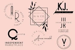 elegant clean minimal feminine logo template design collection