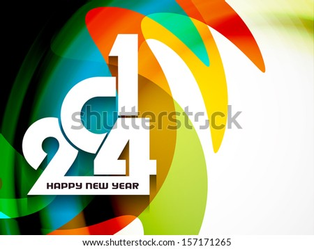 elegant colorful background design for happy new year 2014 vector illustration