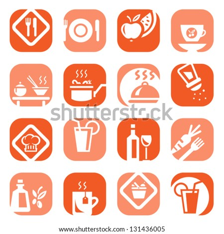 Elegant Colorful Food Icons Set Created For Mobile, Web And Applications.