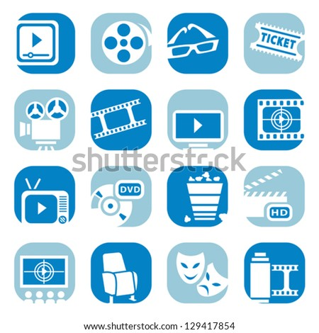 Elegant Colorful ?inema Icons Set Created For Mobile, Web And Applications.