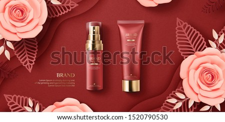Elegant cosmetic ads with paper art blossoms on burgundy red background, 3d illustration flat lay