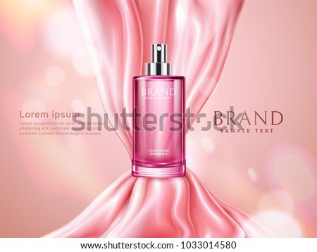 Elegant cosmetic advertising. Pink transparent spray bottle and shiny silk fabric isolated on bokeh background. Silky and delicate satin. Perfume or skin toner. Vector 3d illustration.
