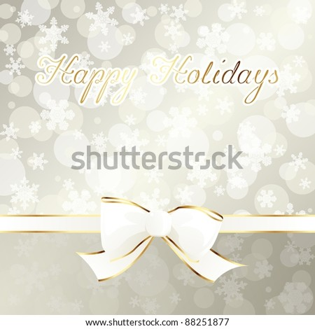 Elegant cream-colored holiday banner with white ribbon (eps10);  jpg version also available