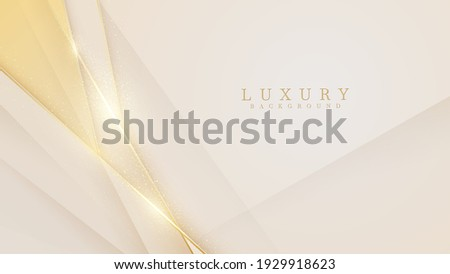 Elegant cream shade background with line golden elements. Realistic luxury paper cut style 3d modern concept. vector illustration for design.
