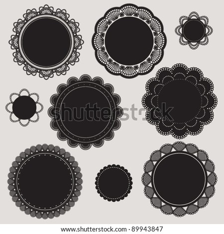 ELEGANT CROCHET LACE CLASSIC FRAME. For your graphic design projects: print, web, blog etc. Vector illustration file.