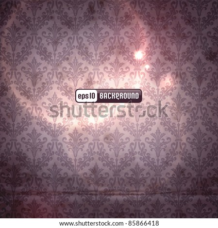 elegant damask background with classical wallpaper pattern, slightly grungy texture and light effects (seamlessly tiling pattern included)