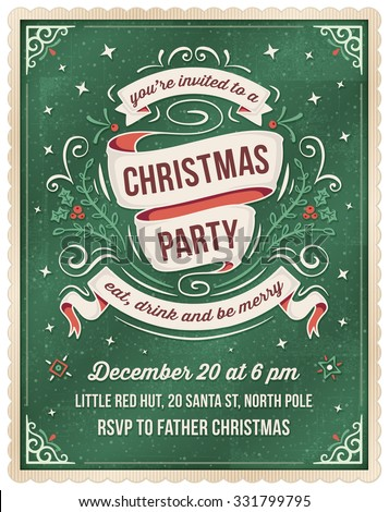 Elegant dark green christmas invitation with beige and red ornaments and ribbons. Room for text at the bottom.