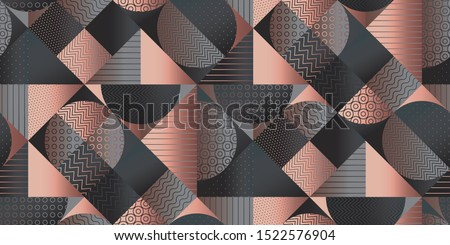 Elegant deep gray geometry seamless pattern for background, wrap, fabric, textile, wrap, surface, web and print design. Rose gold and gray textured classic style rapport for office and business projec