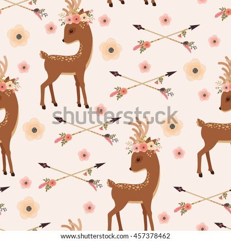 elegant deer with floral wreath