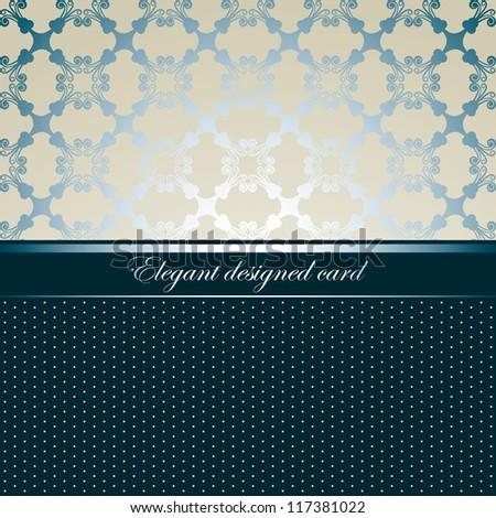 Elegant designed card, seamless background, light style