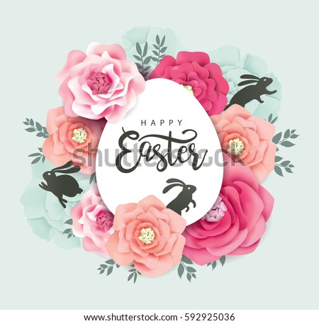 Elegant Easter day greeting card design with blossoms flowers and rabbits