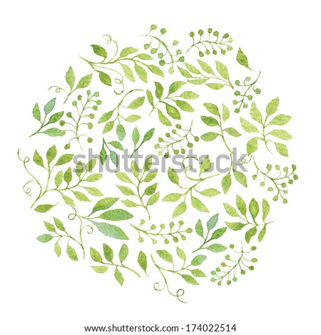 Elegant floral background with green leaves and branches. Vectorized watercolor drawing.