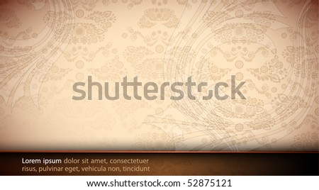 Elegant Floral Card - Seamless Damask Vector Texture